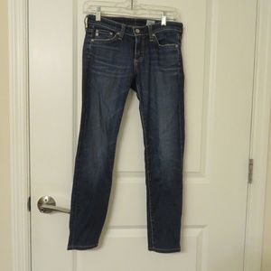 ADRIANO GOLDSCHMIED BLUE MED WASH SKINNY JEANS 25